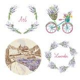 Lavender floral set for the label, badge or web Stock Image