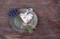 Lavender flower and heart shaped lavender bag Stock Photo