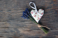 Lavender flower and heart shaped lavender bag Royalty Free Stock Image