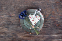 Lavender flower and heart shaped lavender bag Royalty Free Stock Photography