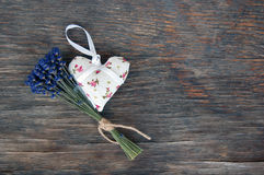 Lavender flower and heart shaped lavender bag Royalty Free Stock Images