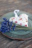 Lavender flower and heart shaped lavender bag Stock Images
