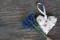 Lavender flower and heart shaped lavender bag Royalty Free Stock Photos