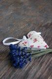 Lavender flower and heart shaped lavender bag Stock Image