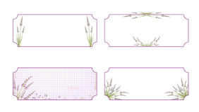 Lavender Flower Label Set. Lavender Flower Label Collection Over White Background, Copyspace Royalty Free Stock Photography