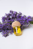 Lavender flower and oil isolated on white Royalty Free Stock Photos
