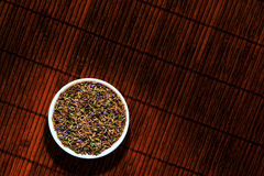 Lavender Flower Seeds in Ceramic Dish Stock Photography
