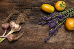 Lavender flower tomatoes and garlic Stock Images