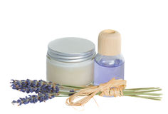 Lavender flowers and aroma oil with cream Royalty Free Stock Photography