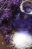 Lavender flowers, bath salt and essential oil Stock Images