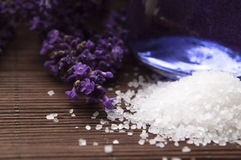 Lavender flowers, bath salt and essential oil Royalty Free Stock Images