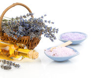Lavender flowers and bath salt Royalty Free Stock Photography