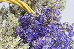 Lavender flowers. Beautiful bunch of lavender flowers in a bascket Royalty Free Stock Image