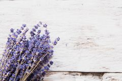 Lavender flowers, bouquet on rustic background, overhead royalty free stock photo