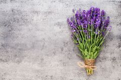 Lavender flowers, bouquet on rustic background, overhead stock image