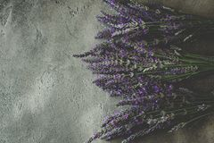 Lavender Flowers Bouquet on Rustic Dark Background. Treats Sleep Issues royalty free stock image