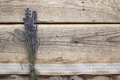 Lavender flowers bouquet on rustic wooden background. stock photos