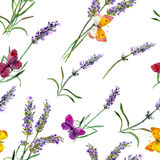 Lavender flowers and butterflies. Seamless wallpaper. Watercolor Royalty Free Stock Photo