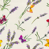 Lavender flowers, butterflies. Watercolor seamless pattern. Lavender flowers and butterflies. Watercolor seamless pattern Stock Photo