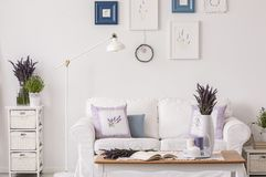 Lavender flowers on cabinet next to lamp and white sofa in living room interior with table and posters. Real photo. Concept royalty free stock image