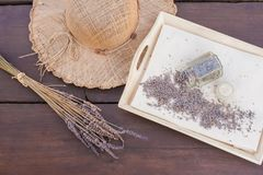 Lavender flowers dried at home. A useful, calming cosmetics ingredient, used to make face or hand creams and beverages royalty free stock image