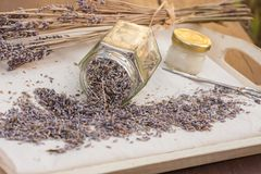 Lavender flowers dried at home. A useful, calming cosmetics ingredient, used to make face or hand creams and beverages stock photography