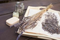 Lavender flowers dried at home. A useful, calming cosmetics ingredient, used to make face or hand creams and beverages stock images