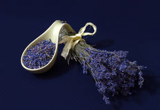 Lavender flowers. Dry lavender flowers on a dark background Stock Image