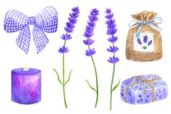 Lavender flowers. Elements for provence design. Violet bow, sachet, wrapped soap, burning candle. Hand drawn watercolor. Illustration. Isolated on white stock illustration