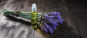 Lavender flowers and essential oil Royalty Free Stock Images