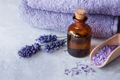 Lavender flowers and essential oil. SPA, essential oil with lavender flowers - health and beauty royalty free stock image