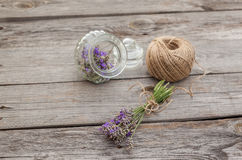 Lavender flowers and glass bottle Stock Photo