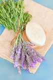 Lavender flowers and green soap bar Royalty Free Stock Photos