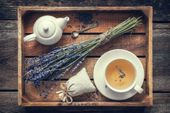Lavender flowers, healthy tea in cup, teapot and sachet. Bunch of lavender flowers, healthy tea in cup, teapot and sachets filled with dried lavender in wooden Royalty Free Stock Photos