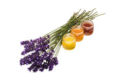Lavender flowers and honey jars stock image
