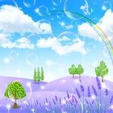 Lavender Flowers Landscapes Stock Photo