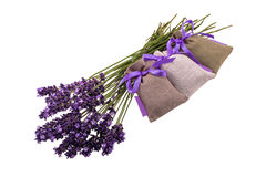 Lavender flowers and linen sachets stock photo