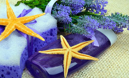 Lavender flowers with liquid soap, bathroom accessories, starfis Royalty Free Stock Image
