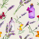 Lavender flowers, oil bottles, butterflies. Seamless pattern for aromatherapy. Watercolor Royalty Free Stock Photos
