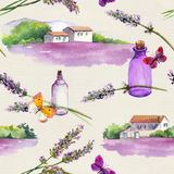 Lavender flowers, oil perfume bottles, butterflies, farm houses with lavender fields. Repeating pattern. Vintage. Lavender flowers, oil perfume bottles Stock Photo