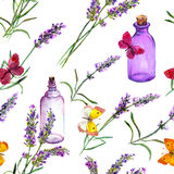 Lavender flowers, oil perfume bottles, butterflies. Repeating pattern for cosmetic, perfume, beauty design. Vintage Stock Photo