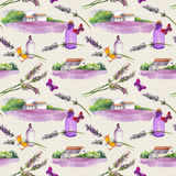 Lavender flowers, oil perfume bottles, butterflies with rural houses and lavender fields. Repeating pattern for cosmetic stock image