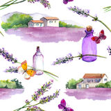 Lavender flowers, oil perfume bottles, butterflies with rural houses and lavender fields. Repeating pattern for cosmetic. Lavender flowers, oil perfume bottles Royalty Free Stock Image