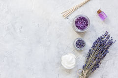 Lavender flowers in organic cosmetic set on stone background top view mock-up Royalty Free Stock Photo