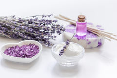 Lavender flowers in organic cosmetic set on white background Royalty Free Stock Images