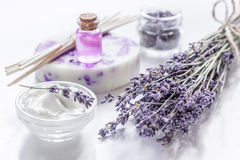 Lavender flowers in organic cosmetic set on white background Royalty Free Stock Photos