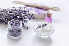 Lavender flowers in organic cosmetic set on white background Stock Photography