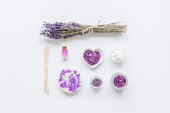 Lavender flowers in organic cosmetic set on white background top view mock-up Royalty Free Stock Images