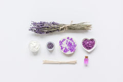 Lavender flowers in organic cosmetic set on white background top view mock-up Royalty Free Stock Image