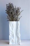 Lavender flowers in paper bag vase Royalty Free Stock Photo